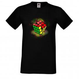 """Мъжка тениска с щампа """"Disco Cube"""" - Черна"""