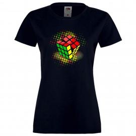 """Дамска тениска с щампа """"Disco Cube"""" - Тъмно синя"""