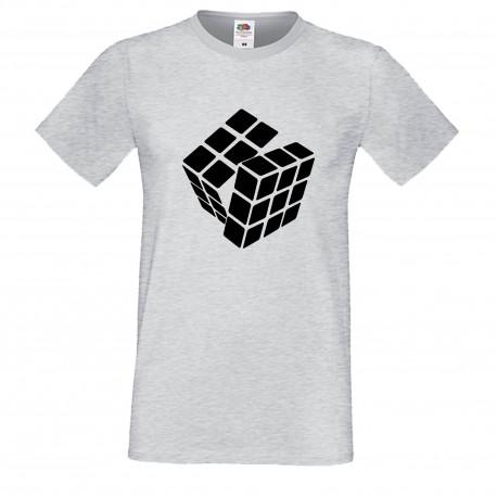 """Мъжка тениска с щампа """"One Color Twist"""" - Сива"""