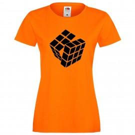 """Дамска тениска с щампа """"One Color Twist"""" - Оранжева"""