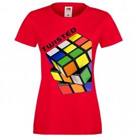 """Дамска тениска с щампа """"Twisted"""" - Червена"""
