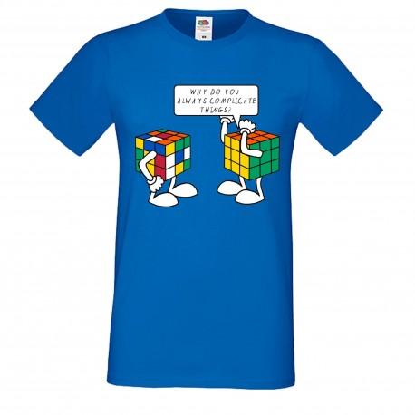 """Мъжка тениска с щампа """"Complicated Things"""" - Синя"""